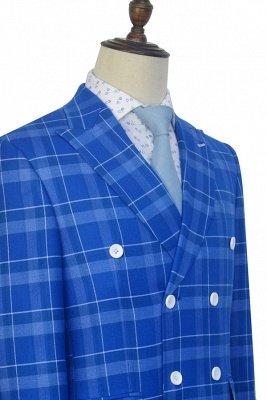 Costume personnalisé à double boutonnage Blue Grid pour hommes | Costume de mariage moderne 2 poches de revers pour le marié_5