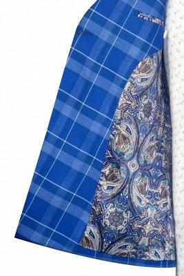 Costume personnalisé à double boutonnage Blue Grid pour hommes | Costume de mariage moderne 2 poches de revers pour le marié_6