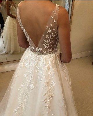 Elegant See Through Straps Appliques Wedding Dresses   Sexy Sleeveless Cheap Bridal Gowns_3
