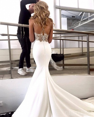 New Arrival Spaghetti Straps Open Back Appliques Sexy Mermaid Cheap Wedding Dresses_2
