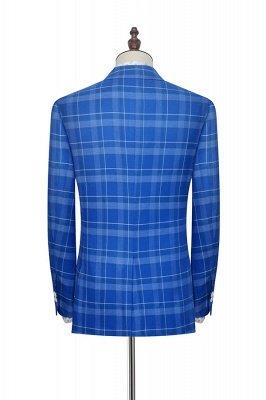 Costume personnalisé à double boutonnage Blue Grid pour hommes | Costume de mariage moderne 2 poches de revers pour le marié_3