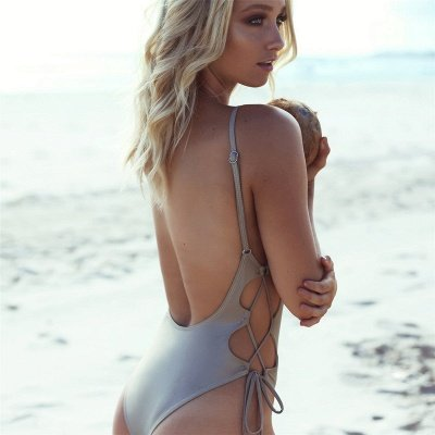 V-neck Spaghetti Backless One Piece Lace-up Beachwears_5