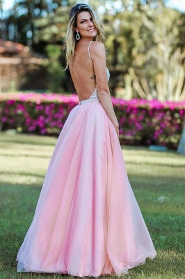 Pink Spaghetti-Straps Appliques Backless A-Line Prom Dresses_2