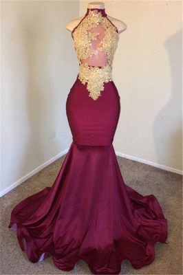Burgundy High-Neck Applique Sleevless Mermaid Prom Dresses