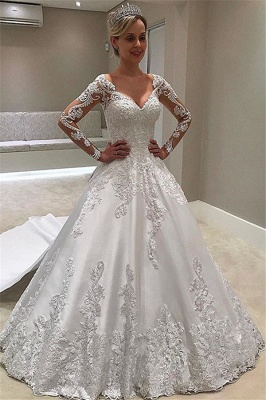 Glamorous Long-Sleeves Ball-Gown Appliques Bridal Gown