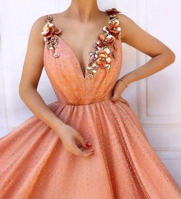 Orange Flower Appliques Straps Sleeveless Tulle  Prom Dress_2