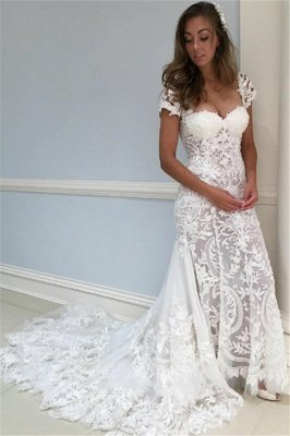 Sheer Lace appliques Lace Wedding Dresses | Sheer Cap Sleeves Flower Bridal Gowns