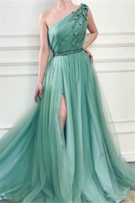 Elegant Appliques One-Shoulder Side-Slit Sleeveless Tulle A-Line Prom Dresses