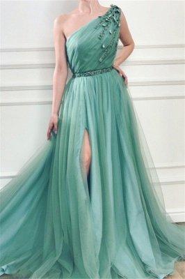 Elegant Appliques One-Shoulder Side-Slit Sleeveless Tulle A-Line Prom Dresses_1