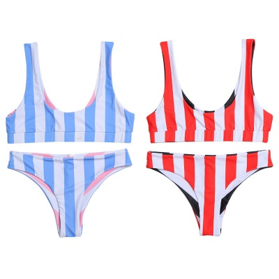 Vintage Scoop Spaghetti Striped Two Piece Swimsuits_6