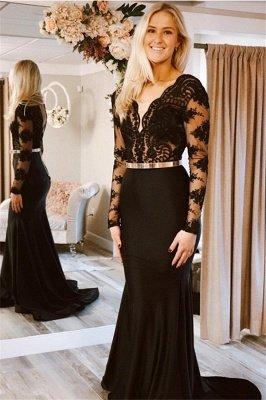 Glamorous Black Lone-Sleeves Lace Applique Long Sexy Mermaid Prom Dresses_1