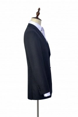 New Black Tweed Notched lapel Custom Suits for Formal   High Quality Single Breasted 2 Pockets Hand Made Wool Suit_5