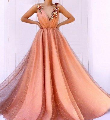 Orange Flower Appliques Straps Sleeveless Tulle  Prom Dress_3
