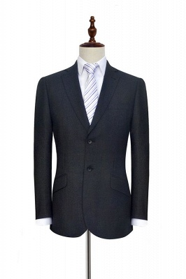New Black Tweed Notched lapel Custom Suits for Formal   High Quality Single Breasted 2 Pockets Hand Made Wool Suit_3