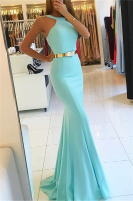 Sexy Mermaid Halter Sleeveless Long Prom Dresses with Sash_3