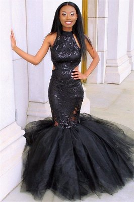 Sexy Blcak Halter Sleeveless Applique Tulle Sexy Mermaid Prom Dress_1