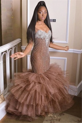 Glamorous Straps Sleeveless Applique Tulle Sexy Mermaid Prom Dress