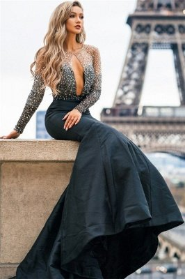 Chic Black Sheer-Tulle Appliques Long-Sleeves Sexy Mermaid Prom Dress
