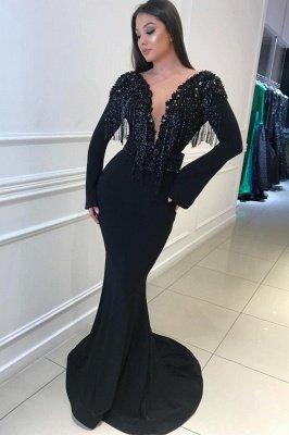 Long Sleeves Sexy Mermaid Deep V-neck Tassel Beading Open Back Prom Dresses_1