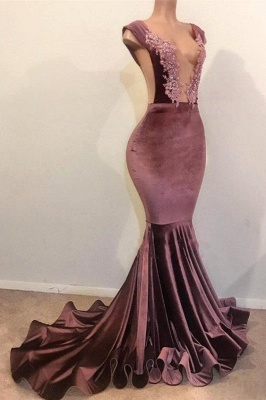 Mermaid Sleeveless Floor Length Appliques Velvet Long Prom Dresses Cheap_2