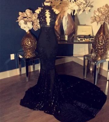 Black Appliques High Neck Sleeveless Mermaid Long Prom Dresses Cheap_2