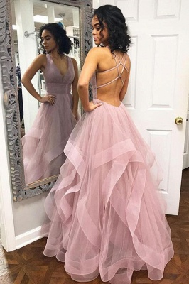 Sexy Pink Halter Ruffle Sleeveless A-Line Prom Dresses