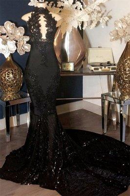 Black Appliques High Neck Sleeveless Mermaid Long Prom Dresses Cheap_1