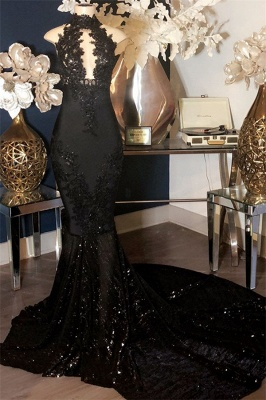 Black Appliques High-Neck Sleeveless Long Mermaid Prom Dresses