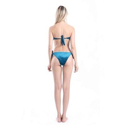 Sweetheart Strapless Bandage Velvet Two Piece Sexy Bikini Swimwear_13
