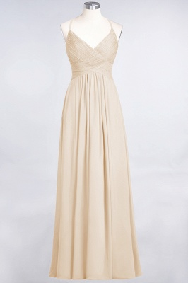 Elegant Princess Chiffon Spaghetti-Straps V-Neck Sleeveless Floor-Length Bridesmaid Dress with Ruffles_14