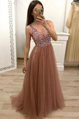 Straps V-Neck Appliques Sleeveless A-Line Prom Dresses_1