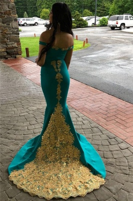 Glamorous Off-The-Shoulder Appliques Sleeveless Mermaid Prom Dresses_2