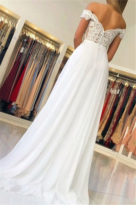 Simple Sexy Off The Shoulder Appliques A-Line Chiffon Cheap Wedding Dresses_2