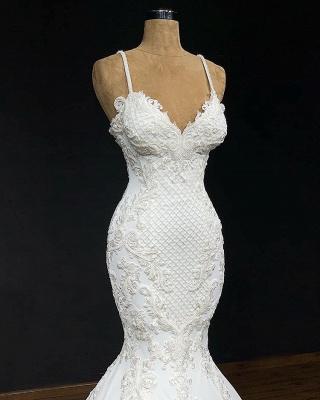 Elegant Spaghetti Straps Appliques Cheap Sexy Sleeveless Mermaid Wedding Dresses_2