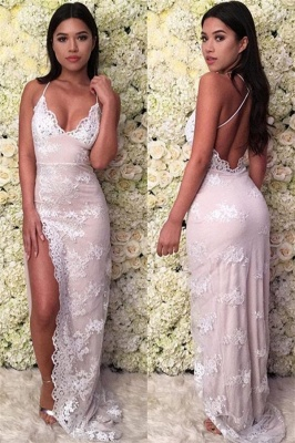Glamorous Spaghetti-Straps Lace Appliques Backless Mermaid Prom Dresses_1
