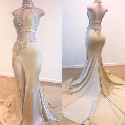 Crystal Halter Side Slit Long Prom Dresses Cheap | Custom Made A-line Open Back Sleeveless Evening Dresses_3