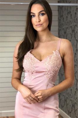 Glamorous Straps Appliques V-Neck Mermaid Prom Dresses_6