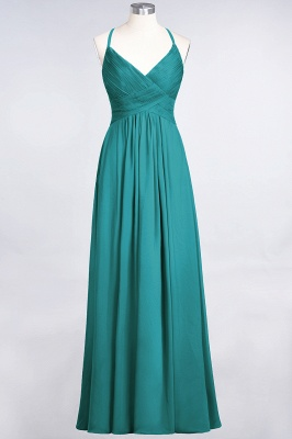 Elegant Princess Chiffon Spaghetti-Straps V-Neck Sleeveless Floor-Length Bridesmaid Dress with Ruffles_31