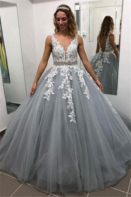Elegant Crystal Apppliques Simple Ball Gown Prom Dresses | A-Line Sleeveless Backless Evening Dresses_1