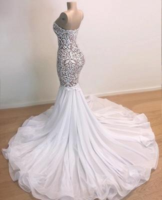 Gorgeous Appliques Spaghetti Straps Sleeveless Mermaid Prom Dresses Cheap_2