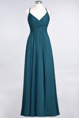 Elegant Princess Chiffon Spaghetti-Straps V-Neck Sleeveless Floor-Length Bridesmaid Dress with Ruffles_26