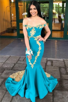 Glamorous Off-The-Shoulder Appliques Sleeveless Mermaid Prom Dresses_3