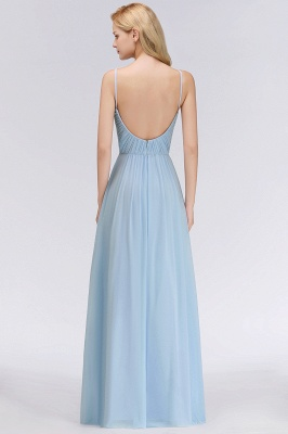 Chiffon V-Neck Spaghetti Straps Floor-Length Bridesmaid Dresses_2