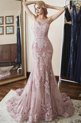Glamorous Spaghetti-Straps Appliques Tulle Mermaid Prom Dresses_1
