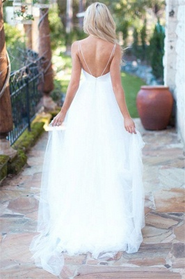 Fluffy Tulle Spaghetti Straps Sexy Wedding Dresses Beach for Summer_2