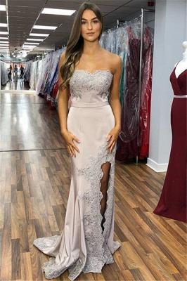 Elegant Strapless Appliques Sleeveless Side-Slit Mermaid Prom Dresses_1