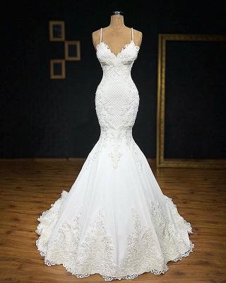 Elegant Spaghetti Straps Appliques Cheap Sexy Sleeveless Mermaid Wedding Dresses_1