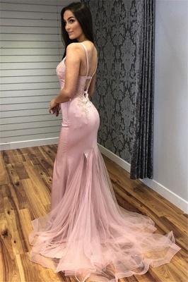 Glamorous Straps Appliques V-Neck Mermaid Prom Dresses_5