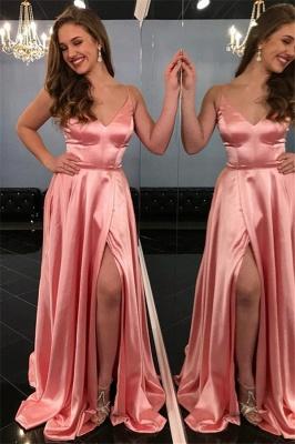 Pink Spaghetti-Straps Sleeveless Side-Slit A-Line Prom Dresses_1