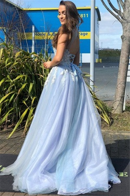 Elegant Straps Lace Appliques Tulle Sleeveless A-Line Prom Dress_1